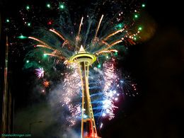 fireworks in the Seattle sky
